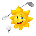 Blue eyed sun is playing golf isolated on white background Stock Photo