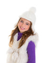 Blue eyes happy child kid girl with white winter cap Stock Photos