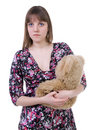 Blue-eyes lady and teddy bear Royalty Free Stock Image