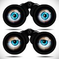Blue eyes looking through binoculars. Different emotions. Royalty Free Stock Photo