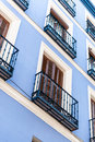 Blue façade building in madrid spain Stock Photography