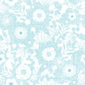 Blue fabric texture garden silhouettes seamless vector pattern background on dark Royalty Free Stock Image