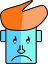 Blue face sad character 01