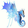 Blue faerie dragon a creature of myth and fantasy the is a friendly animal with horns and wings Stock Images