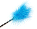 Blue feathered stick sex toy on white background Stock Image