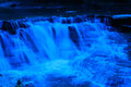 Blue filter was used to take picture beautiful little falls Royalty Free Stock Photos
