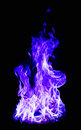 Blue fire on black background Royalty Free Stock Photo