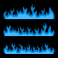 Blue Fire Burning Flames Set on a Black Background. Vector Royalty Free Stock Photo
