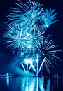 Blue firework in a night sky celebratory Stock Image