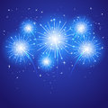 Blue firework set of sparkle on background illustration Stock Photography