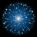 Blue firework shiny with stars on dark background illustration Royalty Free Stock Photo