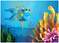 A blue fish under the sea near the coral reefs illustration of on white background Stock Image