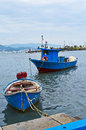 Blue fishing boat in the harbour of la spezia Stock Photography