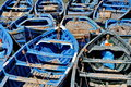 Blue fishing boats of essaouira Royalty Free Stock Photo