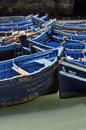 Blue fishing boats of essaouira Stock Photo