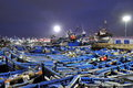 Blue fishing boats of essaouira at night Stock Photo