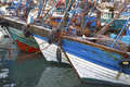Blue fishing boats in essaouira port atlantic coast morocco africa Royalty Free Stock Image