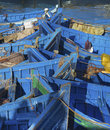 Blue fishing boats in essaouira port atlantic coast morocco africa Royalty Free Stock Images