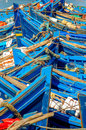 Blue fishing boats moroccan in harbour Royalty Free Stock Photo