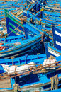 Blue fishing boats moroccan in harbour Royalty Free Stock Image