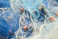 Blue fishing nets Stock Photos