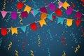 Blue flag garland party celebration background for feast banner vector illustration