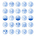 Blue flat icons of emoticons. Smile with a beard, different emotions, moods.