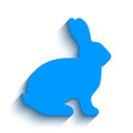 Blank blue flat side silhouette of a rabbit with long shadow isolated on white background. Vector illustration.