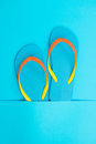 Blue flip flop pair of on background Stock Photo