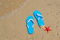 Blue flip flops and starfish by the sea Stock Photo