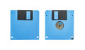 Blue floppy disk front and back of a isolated on white background Royalty Free Stock Photo