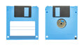 Blue floppy disk front and back of a isolated on white background Royalty Free Stock Photos