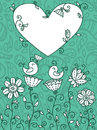 Blue floral card cute with birds and heart frame for text with drops pattern on background Stock Images