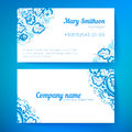 Blue floral decoration business cards templates ornate vector Stock Photos