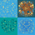 Blue floral heart, round and seamless patterns set