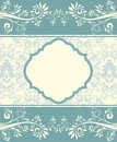 Blue floral invitation card vintage damask Royalty Free Stock Photo
