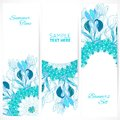 Blue floral ornament banners set vertical with doodles iris and vertical place for your text Royalty Free Stock Photos