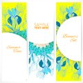 Blue floral ornament banners set vertical with doodles iris and vertical place for your text Royalty Free Stock Images