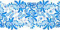 Blue floral ornament in russian gzhel style vector Stock Images