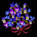 Blue flower bouquet on black background Stock Photography