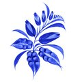 Blue flower composition hand drawn illustration in ukrainian folk style Royalty Free Stock Images