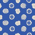 Blue Beige Floral Seamless Vector Design
