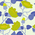 Blue flower flowers on the yellow background Royalty Free Stock Photos