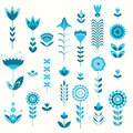 Blue flower set pattern Royalty Free Stock Photo