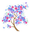 Blue flowering tree Stock Images