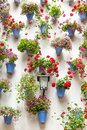 Blue flowerpots and red flowers on a white wall with vintage lan lantern european town spain Stock Image