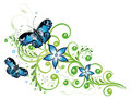 Blue flowers and butterflies floral element Stock Photos