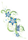 Blue flowers and butterfly floral element Royalty Free Stock Images