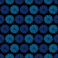 Blue flowers dark background seamless pattern vector Royalty Free Stock Photos