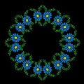 Blue flowers and green leaf frames embroidery stitches imitation